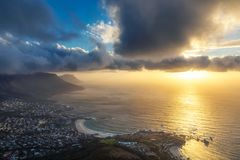 Lion`s head top view at sunset with beatiful clouds in the sky. Cape Town royalty free stock photo