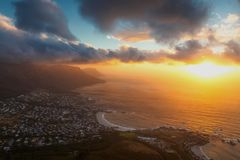 Lion`s head top view at sunset with beatiful clouds in the sky. Cape Town royalty free stock photos