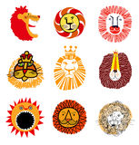 Lion's head (vector set) Stock Photo