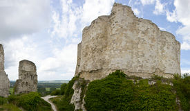 Lion's Heart Castle - Panorama. The defensive walls ruins of the Richard Lion Heart castle, in Le Petit Andely, Normandy, France Royalty Free Stock Photography