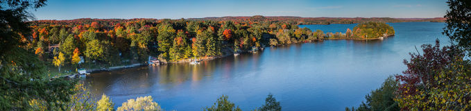 Lion`s lookout Huntsville. Panorama, sunset, Muskoka Stock Image