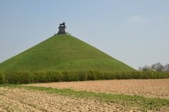 Lion`s mound Battlefield monument at Waterloo. Belgium. Royalty Free Stock Image