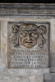 Venice Doge's palace, detail. A Lion's Mouth postbox for anonymous denunciations at the Doge's Palace in Venice, Italy. Text translation: Secret denunciations Royalty Free Stock Photos