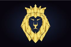 Lion`s polygonal head with gold crown. King lion. royalty free illustration