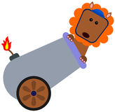 Lion's stunt. Illustration of a lion about to be fired from a cannon Royalty Free Stock Photos