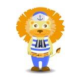 Lion sailor binoculars. children s illustration Royalty Free Stock Photography