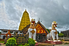 Lion sangklaburi thailand hdr. The architecture of burmese lion sangklaburi thailand hdr Royalty Free Stock Images