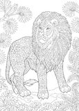 Lion sauvage de Zentangle Photos libres de droits
