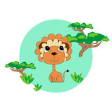 Lion in the savannah. Print for children. Background for kids Royalty Free Stock Images