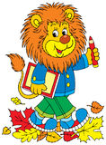 Lion schoolboy. Vector clip-art / Isolated illustration for your design Stock Images