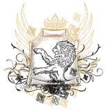 Lion on scroll Insignia Royalty Free Stock Image