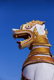 Lion Sculpter. A big sculpture of white guardian lion in Thailand royalty free stock photo