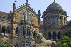 A lion sculpture Building of the railway station in Mumbai Victoria Terminus Royalty Free Stock Photography