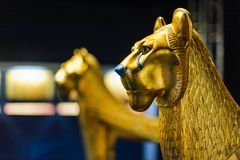 Lion Sculpture de oro Imagen de archivo