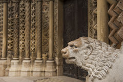 Lion sculpture on the exterior of a gothic church Royalty Free Stock Photography