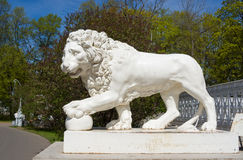 Lion sculpture in front of the palace Yelaginsky Stock Image