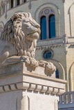 Lion sculpture on front of Parliament of Norway Royalty Free Stock Photography