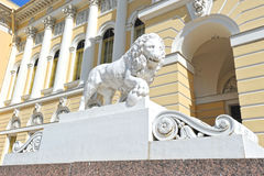 Lion sculpture in front of the state Russian Museum Royalty Free Stock Photos