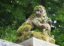 Lion Sculpture in the garden of castle Konopiste Royalty Free Stock Photos
