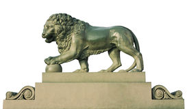 Lion sculpture isolated on white Stock Photography