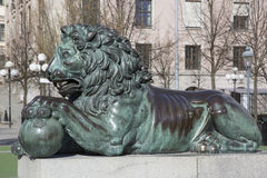 Lion Sculpture at King Karl XIII Monument; King's Garden; Stoc Royalty Free Stock Photo