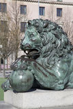 Lion Sculpture at King Karl XIII Statue; King's Garden; Stockh Royalty Free Stock Images