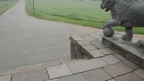Lion sculpture and mist in  manor park stock video footage