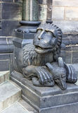 Lion sculpture near Bremen Cathedral church, Germany Royalty Free Stock Image