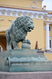 Lion sculpture near the Palace bridge in St. Petersburg Stock Photo
