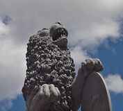 Lion sculpture at the new castle in Stuttgart royalty free stock images