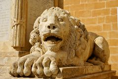 Lion sculpture. An outdoor maltese symbol in Valletta Royalty Free Stock Images