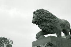 Lion. Sculpture. Photo black-white in retro style. royalty free stock photo