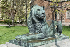 Lion sculpture in Sofia,Bulgaria. Big lion statue in front of the saint Sofia church stock photos