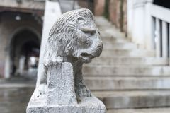 Lion sculpture on stairs. Small sculpture of lion on handrails of building stairs in Venice, Italy stock photography