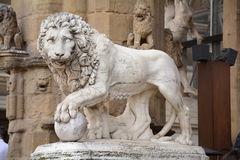 Lion sculpture in Venice. A lion sculpture in hard stone, the emblem of Venice. It is the symbol of Venice Stock Photography