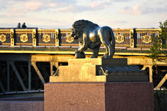 Lion sculpture on the waterfront in St. Petersburg Stock Image