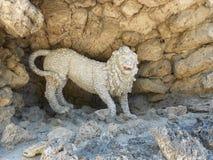 Lion sculpture. White lion sculpture roar stock image