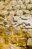 Royal emblem of Sultan Baybars. Lion, sculptured in stone, the royal emblem of Sultan Baybars. The Nimrod Fortress in  Israel Stock Images