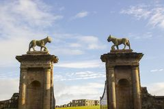 Lion sculptures on top of a stone gate posts at the Bishop`s Gate entrance to Mussenden on the north coast of Northern Ireland royalty free stock image