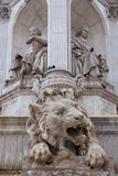 The lion Sculture on the St Sulpice Fountain Royalty Free Stock Images