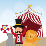 Lion, seal and tamer icon. Circus and Carnival design. Vector gr. Circus and carnival concept represented by Lion, seal and tamer icon. Colorfull illustration Royalty Free Stock Photo