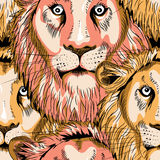 Lion seamless pattern. Seamless pattern with overlapping lion heads. Vector illustration on black background vector illustration