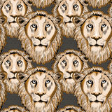 Lion seamless pattern. Seamless pattern with overlapping lion heads. Vector illustration on brown background vector illustration