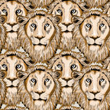 Lion seamless pattern. Seamless pattern with overlapping lion heads. Vector illustration on light brown background royalty free illustration