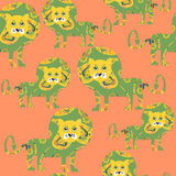 Lion seamless pattern and seamless pattern in swatch menu, vecto Royalty Free Stock Photo