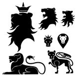 Lion set heraldry. Set of heraldry lion and crown design elements,black colored Stock Images
