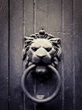 Lion-shaped door knocker stock photos