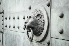 Lion shaped door knocker horizontal Royalty Free Stock Photography