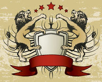 Lion Shield Crest. An illustration of a crest and banner with lions Stock Photography