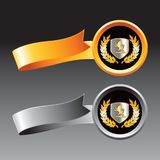 Lion shield on gold and gray ribbons Stock Image